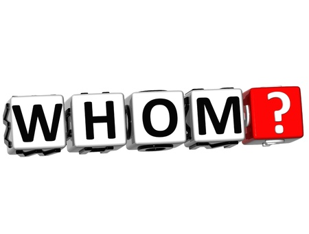 3D word Whom with question mark. Block text over white background. photo