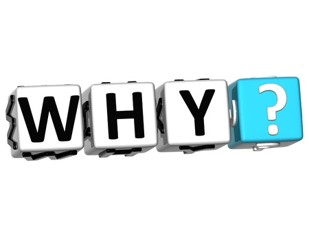 3D word Why with question mark. Block text over white background. photo