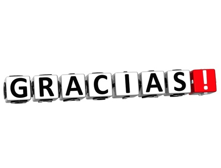 spanish language: The word Thank you in many different languages. Block text over white background. Stock Photo