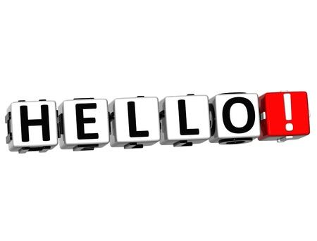 3D Hello block text on white background  photo