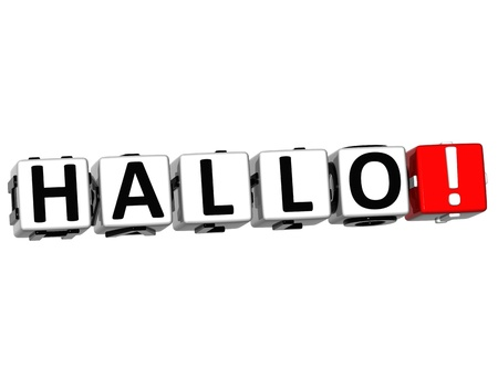 hallo: 3D Hallo block text on white background