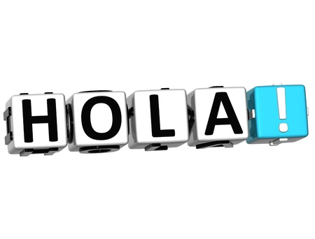 3D Hola block text on white background  photo