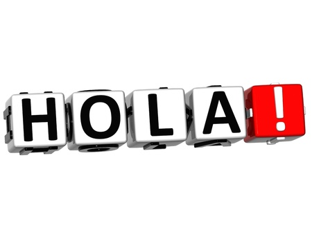 hola: 3D Hola block text on white background  Stock Photo