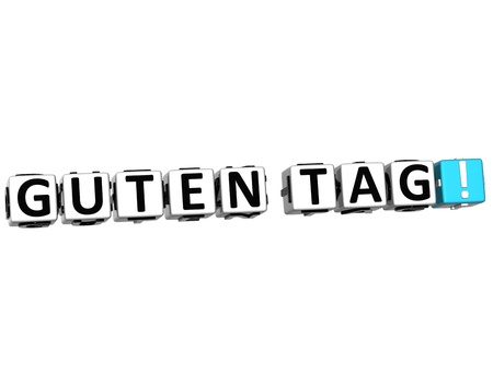 3D Guten Tag block text on white background  photo