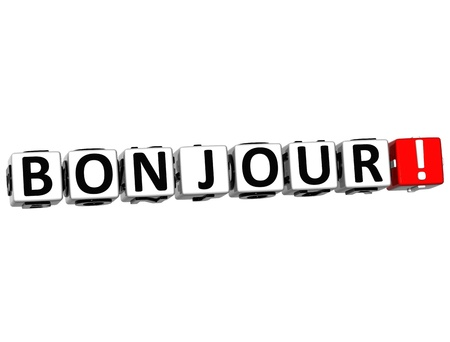 bonjour: 3D Bonjour block text on white background