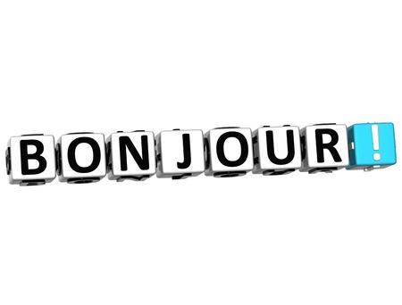 hola: 3D Bonjour block text on white background