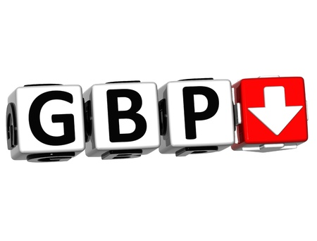 gbp: Currency GBP rate concept symbol button on white background Stock Photo