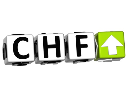 Currency CHF rate concept symbol button on white background photo