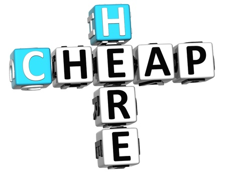 3D Cheap Here Crossword  on white backgrond Stock Photo - 12570068
