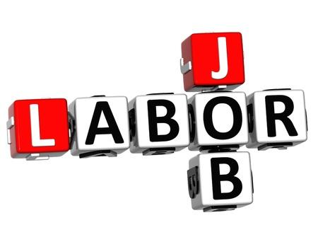 3D Labor Day Job Crossword on white background photo