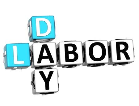 jornada de trabajo: D�a del Trabajo en 3D Trabajo Crucigrama sobre fondo blanco