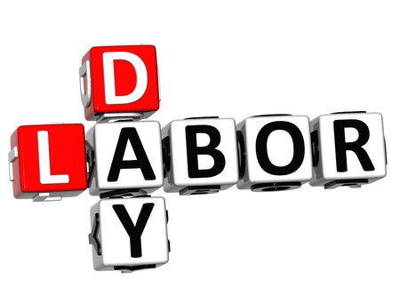 the day off: 3D Labor Day Job Crossword on white background