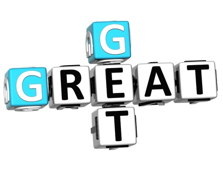 buzzword: 3D Get Great text Crossword on white background