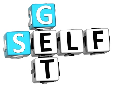 3D Get Self text Crossword on white background Stock Photo - 12570065