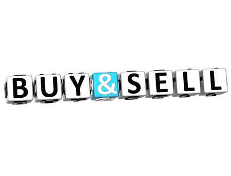 3D Buy and Sell Crossword  on white background photo