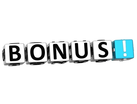 3D Get Bonus Credits Block Letters over white background Stock Photo - 12570083