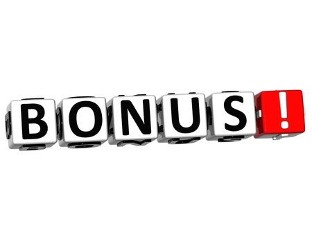 3D Get Bonus Credits Block Letters over white background Stock Photo - 12570084