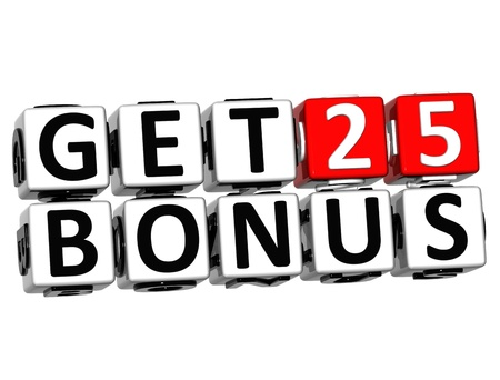 3D Get 25 Bonus Credits Block Letters over white background Stock Photo - 12570166