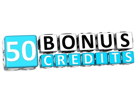 3D Get 50 Bonus Credits Block Letters over white background photo