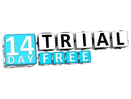 3D Get 14 Day Trail Free Block Letters over white background photo