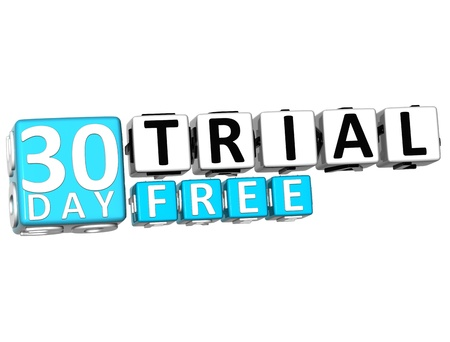 3D Get 30 Day Trail Free Block Letters over white background photo