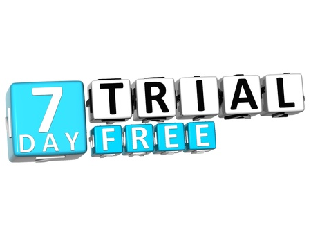 3D Get 7 Day Trail Free Block Letters over white background photo