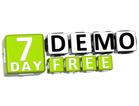 3D Get 7 Day Demo Free Block Letters over white background photo