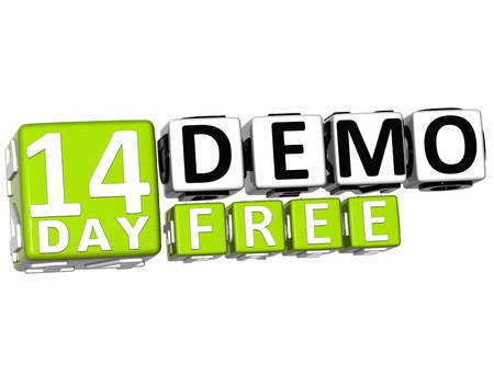 3D Get 14 Day Demo Free Block Letters over white background photo