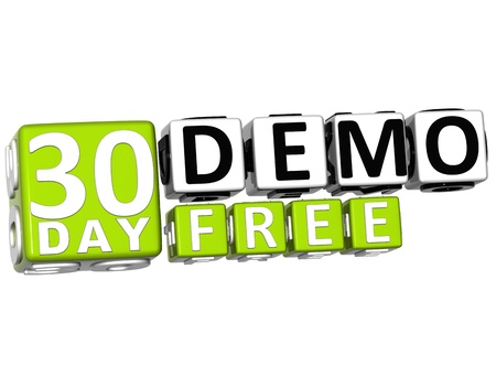 3D Get 30 Day Demo Free Block Letters over white background photo