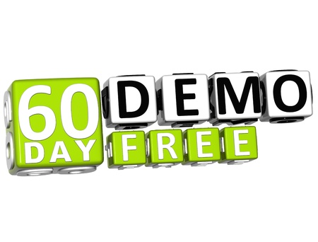 3D Get 60 Day Demo Free Block Letters over white background photo