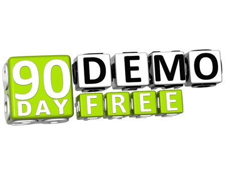 3D Get 90 Day Demo Free Block Letters over white background photo