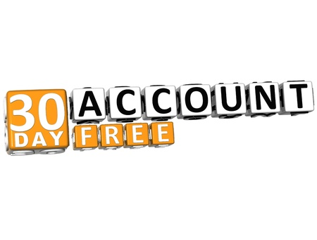3D Get 30 Day Account Free Block Letters over white background Stock Photo - 12570130