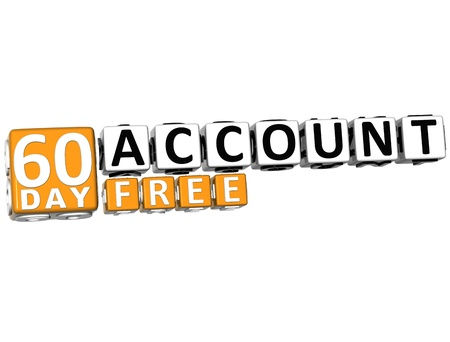 3D Get 60 Day Account Free Block Letters over white background photo