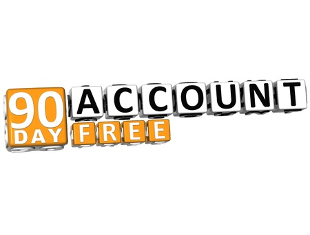 3D Get 90 Day Account Free Block Letters over white background photo
