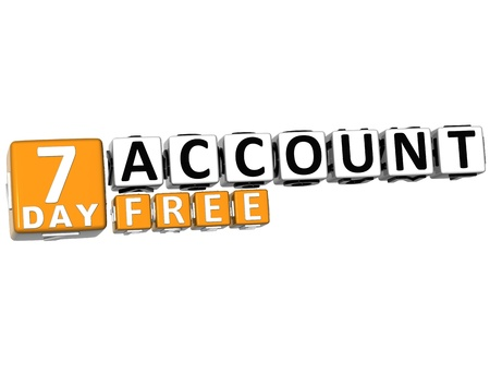 3D Get 7 Day Account Free Block Letters over white background photo