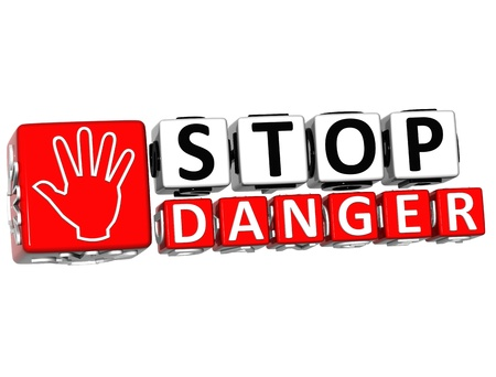 3D Stop Danger Hand block text on white background.  photo
