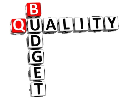 3D Budget Quality text Crossword over white background Stock Photo