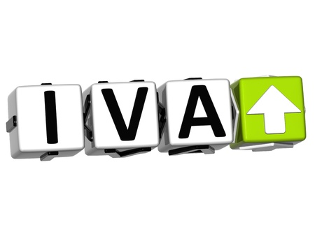3D Iva button block cube text over white background Stock Photo