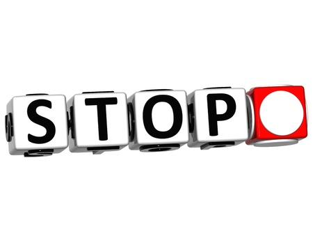 3D Stop Navigation Button cube text over white background Stock Photo - 12570252