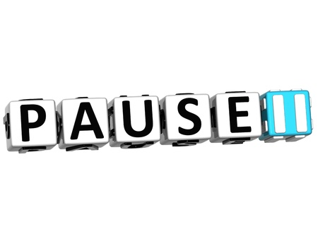 3D Pause Navigation Button cube text over white background Stock Photo - 12570249