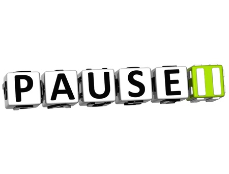 3D Pause Navigation Button cube text over white background Stock Photo - 12570244