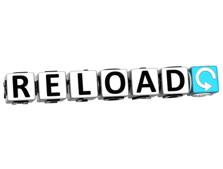 3D Reload Navigation Button cube text over white background Stock Photo - 12570240