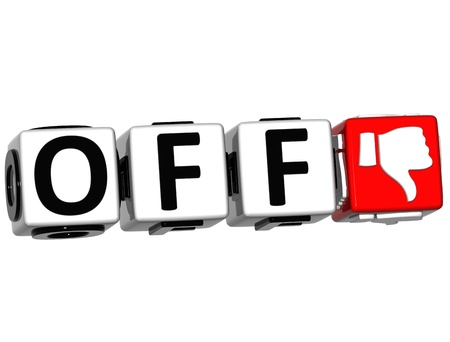 3D Off Hand Button cube text over white background photo