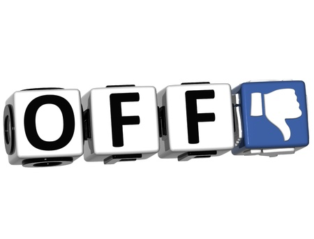 3D Off Hand Button cube text over white background Stock Photo - 12570281