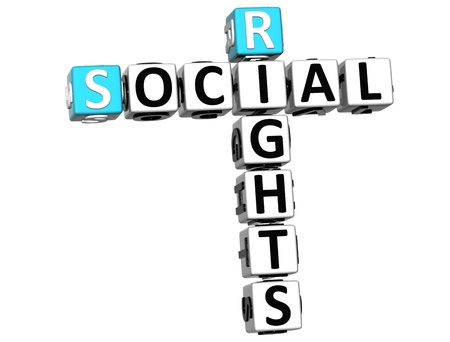 3D Social Rights Crossword cube words on white background Stock Photo - 12570347