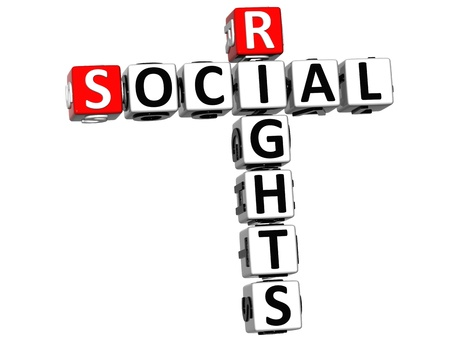 3D Social Rights Crossword cube words on white background photo