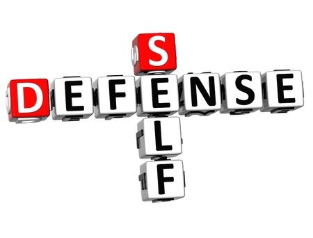 defensa personal: 3D Autodefensa palabras Crucigrama de cubo en el fondo blanco