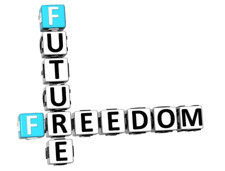 vision future: 3D Vrijheid Toekomstvisie Crossword kubus woorden op een witte achtergrond Stockfoto
