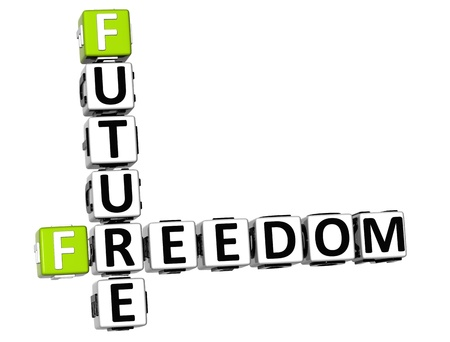 3D Freedom Future Vision Crossword cube words on white background