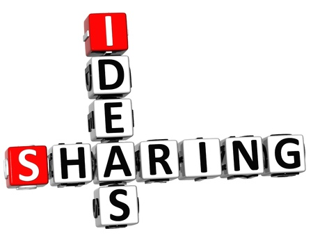 3D Sharing Ideas Crossword cube words on white background photo